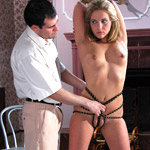 Busty bound and restrained girl craves rough sex and bondage.